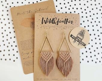 Wild And Feather macrame earrings: Sahara - mocha