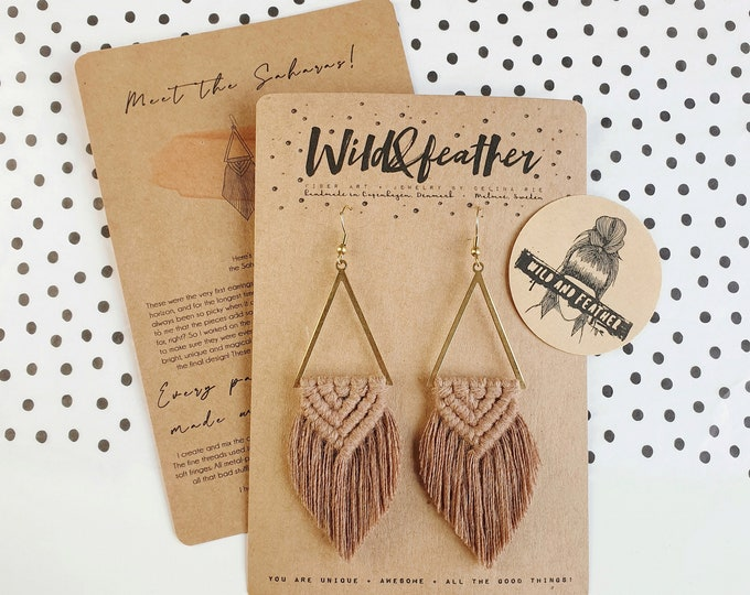 Wild And Feather macrame earrings: Sahara - mocha