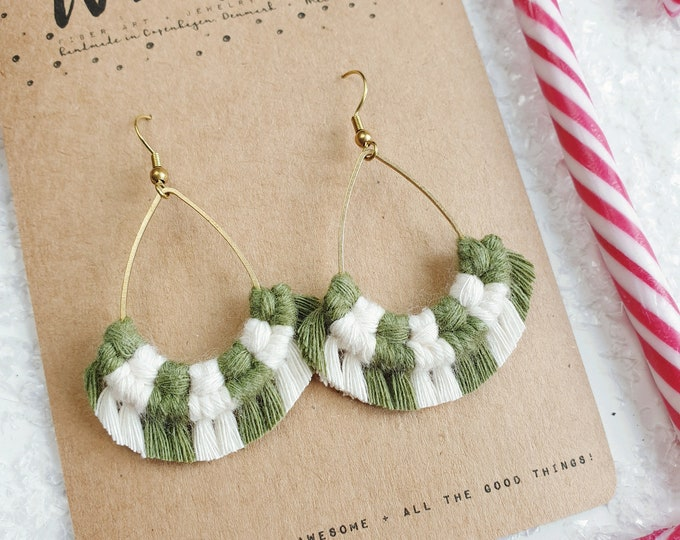 Wild And Feather macrame earrings: Drops - candy cane green