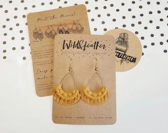 Wild And Feather macrame earrings: Drops mini - mustard