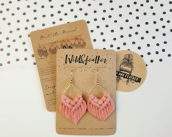 Wild And Feather macrame earrings: Molly mini - dusty raspberry