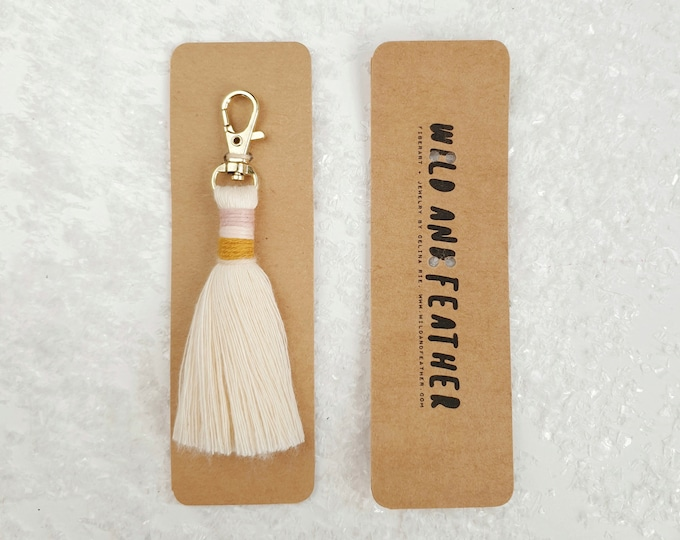 Wild And Feather macrame tassel keychain / bag tassel - natural, mustard, blush