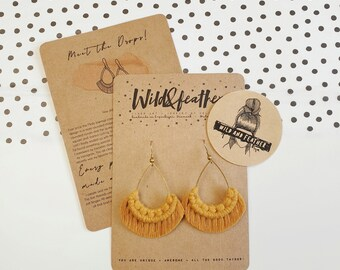 Wild And Feather macrame earrings: Drops - mustard