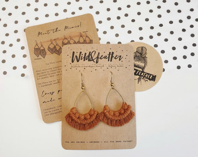 Wild And Feather macrame earrings: Drops mini - terracotta