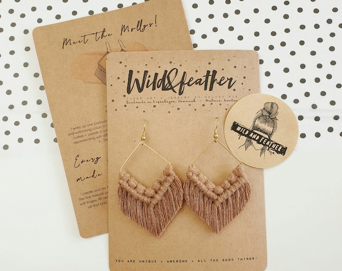 Wild And Feather macrame earrings: Molly - mocha