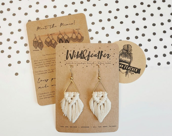 Wild And Feather macrame earrings: Sahara mini - natural
