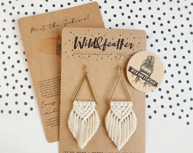 Wild And Feather macrame earrings: Sahara - natural