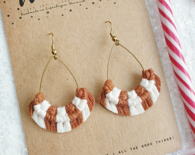 Wild And Feather macrame earrings: Drops - candy cane ginger bread