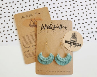 Wild And Feather macrame earrings: Drops - sea turquoise