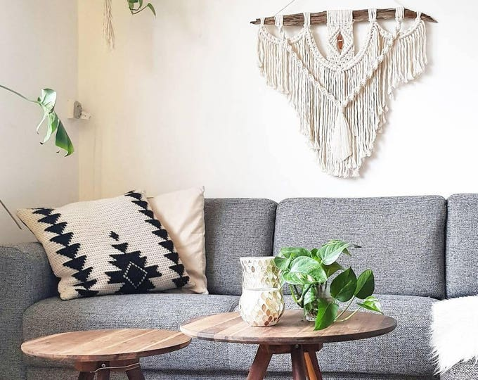 Ida - large macramé wall hanging / macramé tapestry made from all natural materials in natural tones on driftwood with raw crystal