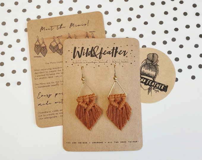 Wild And Feather macrame earrings: Sahara mini - terracotta