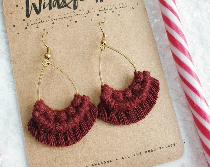 Wild And Feather macrame earrings: Drops mini - glögg