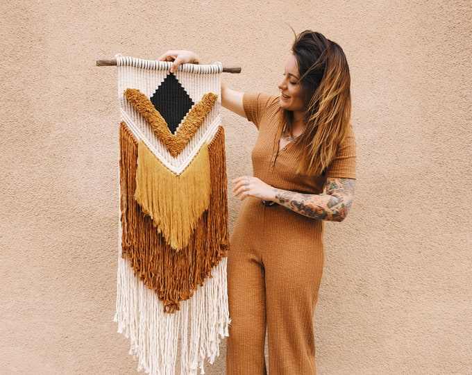 Eve - large macrame wallhanging / tapestry made from all natural materials in mustard, terracotta, black, nougat and natural tones
