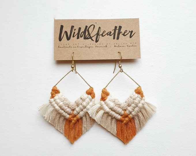 Wild And Feather macrame earrings: One of a kind - rusty orange, beige and natural cream