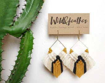 Wild And Feather macrame earrings: Cactus - mustard