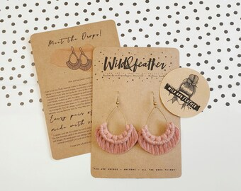 Wild And Feather macrame earrings: Drops - dusty rose