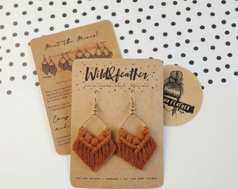 Wild And Feather macrame earrings: Molly mini - terracotta