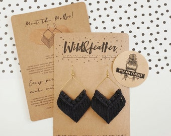 Wild And Feather macrame earrings: Molly - black