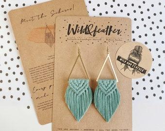 Wild And Feather macrame earrings: Sahara - sea turquoise