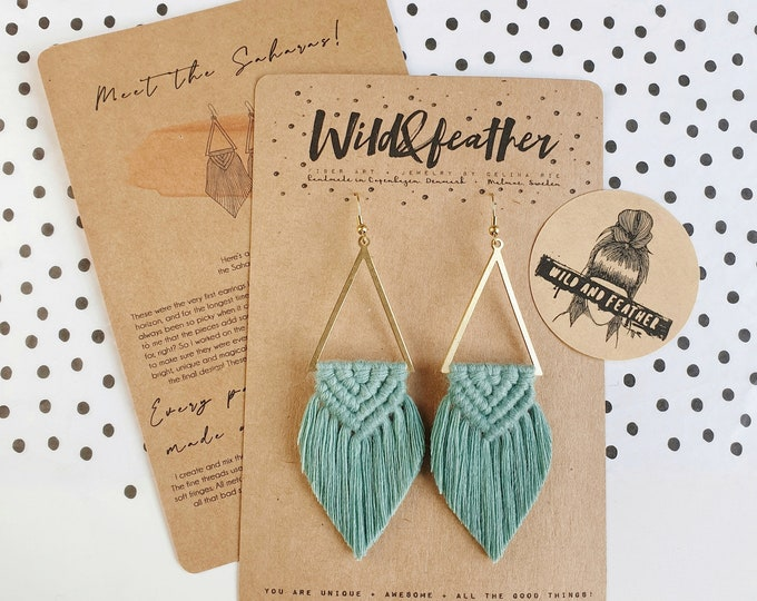 Wild And Feather macrame earrings: Sahara - sea turquoise