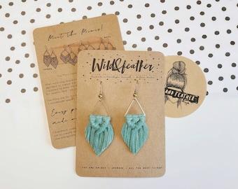 Wild And Feather macrame earrings: Sahara mini - sea turquoise
