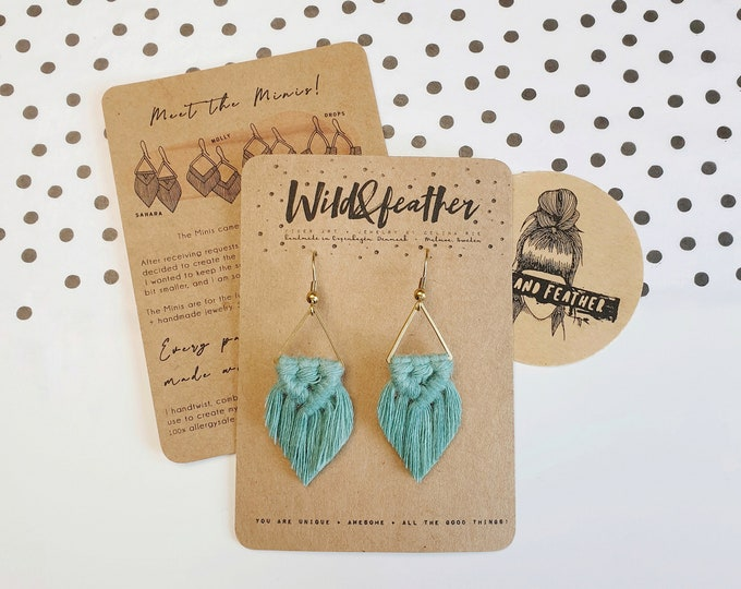 Wild And Feather macrame earrings: Sahara mini - sea turquoise