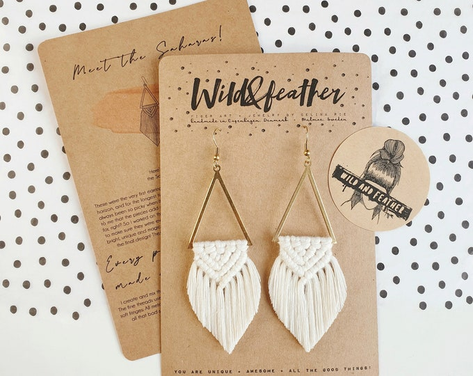 Wild And Feather macrame earrings: Sahara - snow white