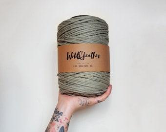 Cotton string 5mm single twist - Ashy Green 1kg