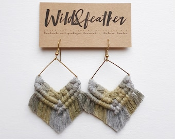 Wild And Feather macrame earrings: One of a kind - grey, sage and olive