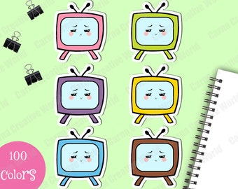 Printable, Television, TV, Serie, Die Cuts, Hand Draw, Planner, Doodle, Clipart, Clip arts, PNG, Rainbow color, Download