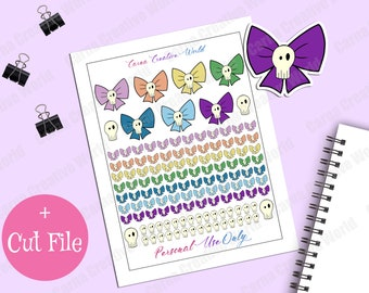 Printable, Bows, Skull, Kawaii, Stickers, Gothic, Planner Sticker, Planner Supplies, Bullet Journal, Planner accessories, Rainbow, Cut File