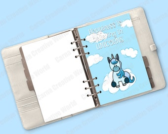 Printable, Unicorn Insert, Blue ,Cute, Kawaii, A5, A4, Planner Insert, Cover, Agenda, Insert, Quote, planner dashboard