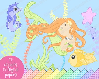 Mermaids, sea animals, starfish, algae, seahorse, clipart, diecut, bubble digital paper, sea pack, ocean, ariel, Cute, Chibi