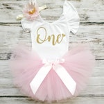 Pink Birthday Leotard | First Birthday Outfit Girl | Pink and Gold Flutter Sleeve Shirt | 1st Birthday Girl Outfit | Baby Cake Smash Outfit