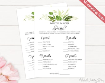 Greenery What is in Your Purse Game. Printable Bridal Shower Game. Leaves Green Spring Watercolor Bridal Shower Game. Download PDF