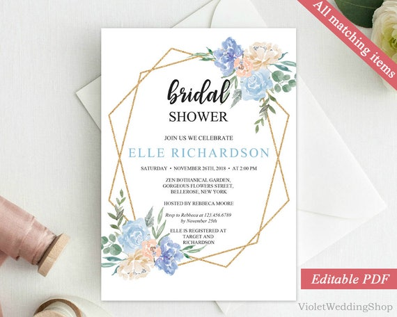 Cream And Blue Floral Bridal Shower Invitation Template Etsy