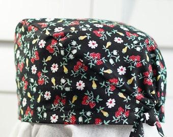 Scrub Cap/Surgical Caps/Medical Hat/Nurse/Dentist/Tie Style Cap - Daisies & Berries on Black