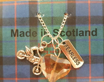 Motorbike, motor lover necklace, Fearless