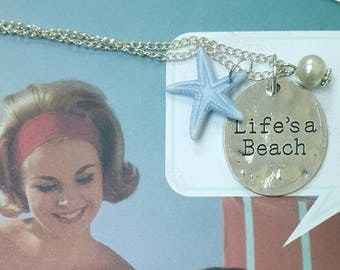 BEACH ADVENTURES - pendant necklace with pearl and starfish charm