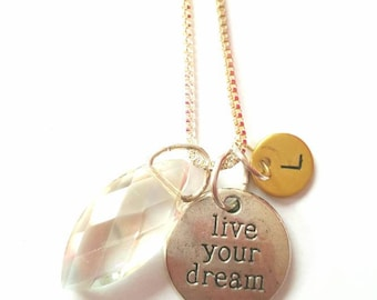 Sterling Silver necklace with crystal and quote 'Live your dream' - can be personalised with initial