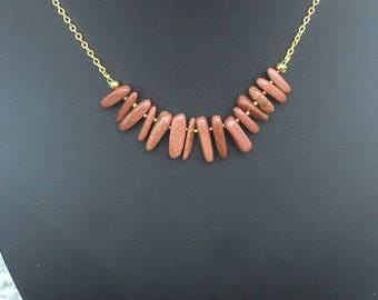 """Brown goldstone necklace 19"""", with free matching earrings"""
