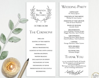 Wedding Program Template, DIY Wedding Program Editable , Wedding Program Wreath Printable, Ceremony Printable, PDF Instant Download LW210
