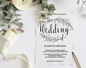 Wedding Invitation Template, Rustic Wedding Invitation Editable, Wedding Invitation Printable, Wedding Template, PDF Instant Download WD211