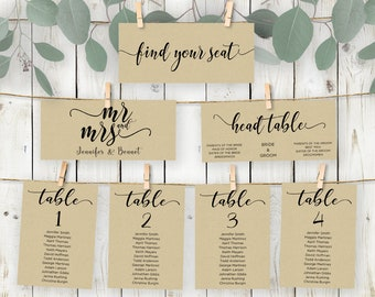 Rustic Wedding Seating Chart Template Editable Wedding Seating Table Cards Display Printable PDF TEMPLETT LW210 Header Sign and Table Sign
