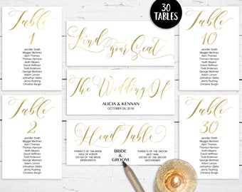 Gold Wedding Seating Chart Template, Header Sign and Table Signs, Table Cards 1-30, Seating Card, Find your Seat, PDF Instant Download GW180