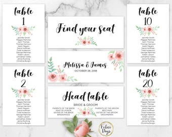 Floral Wedding Seating Chart Template, Header Signs and Table Signs, Table Cards, Seating Card, Find your Seat, PDF Instant Download FL170