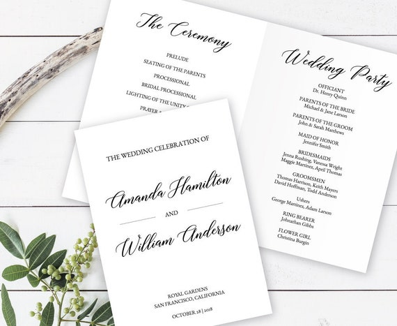 Wedding Program Folded Editable Template Catholic Wedding Calligraphy Booklet Program Order Of Ceremony Elegant Program Printable El180