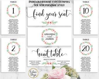 Floral Wedding Seating Chart Template, Header Signs and Table Signs, Table Cards, Seating Card, Find your Seat, PDF Instant Download FL270