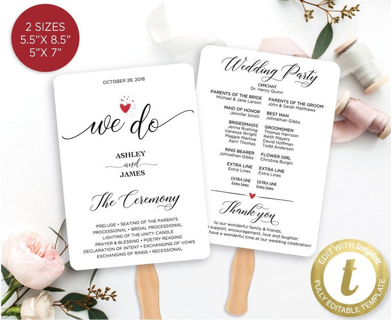 PDF Instant Download GW180 Wedding Program Editable Gold Wedding Fan Program Template DIY Wedding Program Printable Ceremony Printable