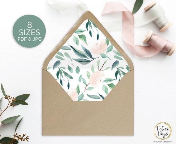 Floral Envelope Liner Template Printable Greenery Watercolor